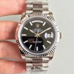Replica Rolex Day-Date 40 228239 N Stainless Steel Black Dial Swiss 3255