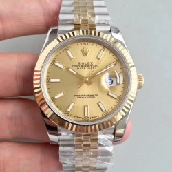Replica Rolex Datejust II 116333 41MM EW Stainless Steel & Yellow Gold Champagne Dial Swiss 3136