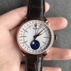 Replica Rolex Cellini Moonphase 50535 RXW Rose Gold White Dial Swiss 2824
