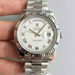 Replica Rolex Day-Date II 218239 41MM V6 Stainless Steel White Dial Swiss 2836-2