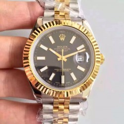 Replica Rolex Datejust 41 126333 41MM NF Stainless Steel & Yellow Gold Black Dial Swiss 2836-2