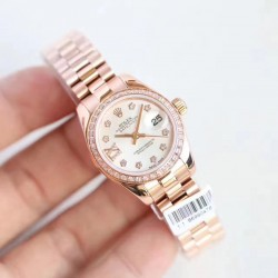 Replica Rolex Lady Datejust 28 279135RBR 28MM N Rose Gold & Diamonds Mother Of Pearl Dial Swiss 2671