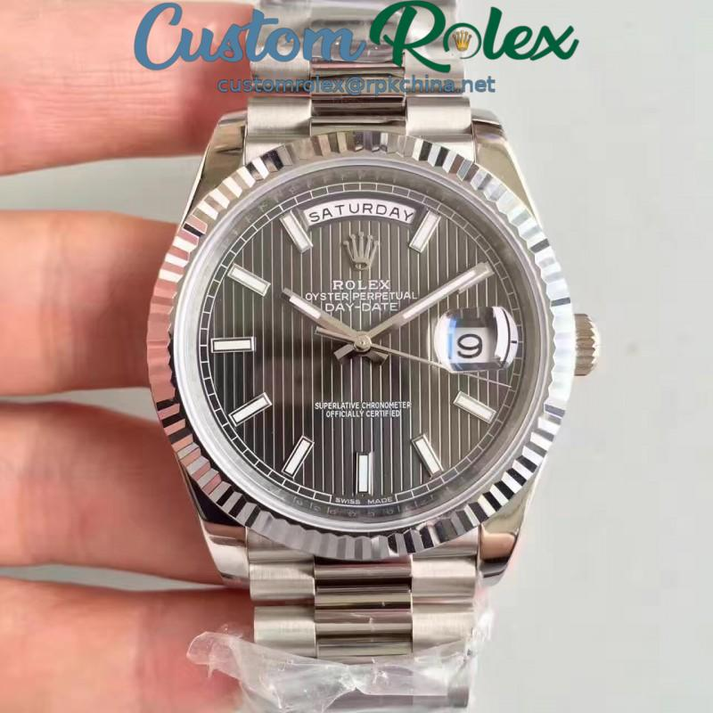 Replica Rolex Day-Date 40 228239 N Stainless Steel Anthracite Dial Swiss 3255