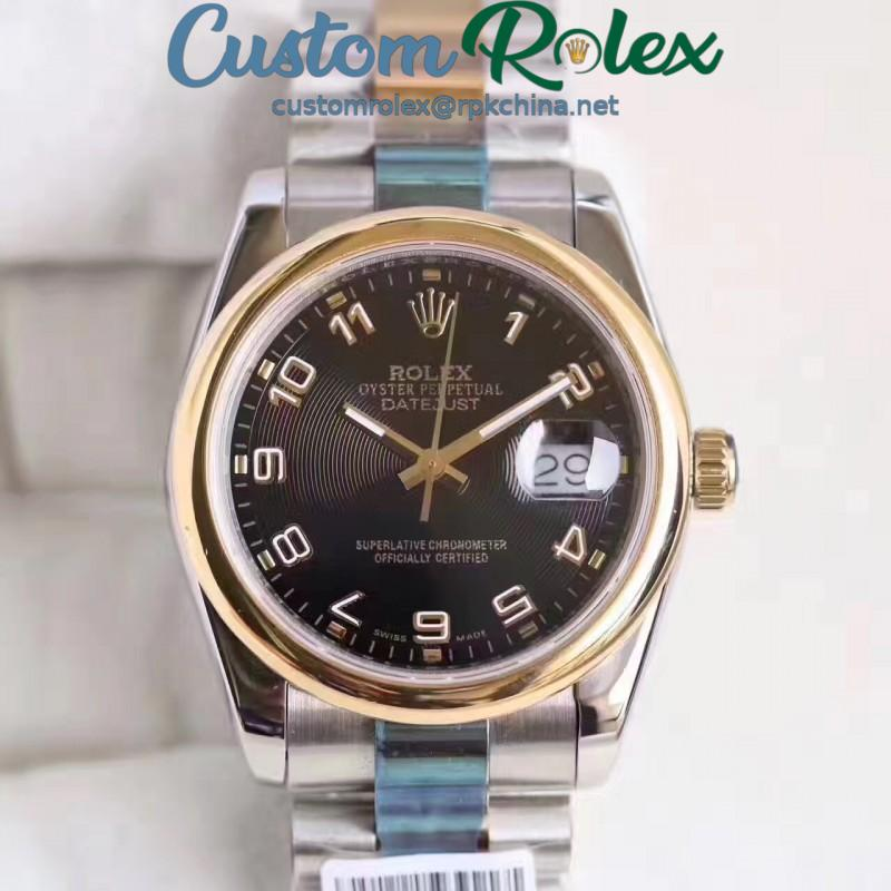 Replica Rolex Datejust 36 116203 36MM N Stainless Steel & Yellow Gold Black Dial Swiss 2836-2