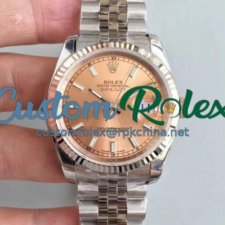 Replica Rolex Datejust 36MM 116234 AR Stainless Steel 904L Rose Gold Dial Swiss 3135