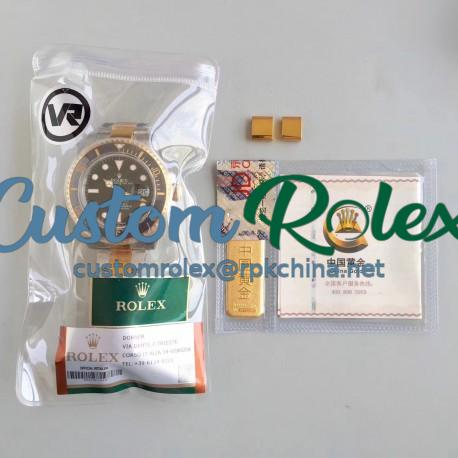 Replica Rolex Submariner Date 116613LN VR 18K Yellow Gold Wrapped & Stainless Steel Black Dial Swiss 2836-2