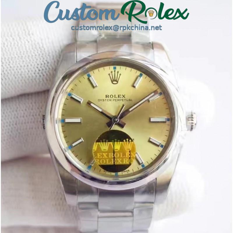 Replica Rolex Oyster Perpetual 39 114300 2018 UB Stainless Steel Champagne Dial Swiss 2836-2