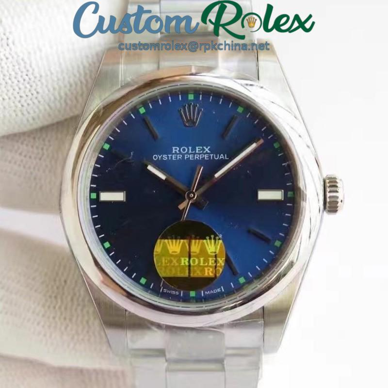 Replica Rolex Oyster Perpetual 39 114300 2018 UB Stainless Steel Blue Dial Swiss 2836-2