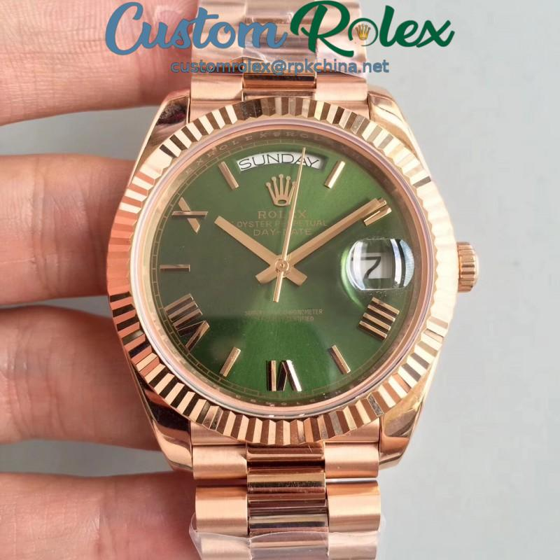 Replica Rolex Day-Date 40 228235 40MM AR Stainless Steel 904L With 18K Rose Gold Wrapped Green Dial Swiss 3255