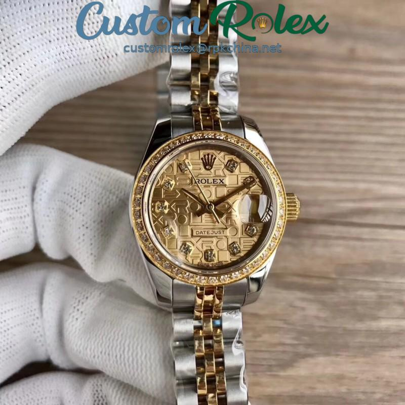 Replica Rolex Lady Datejust 28 279383BR 28MM WF Stainless Steel & Yellow Gold Rolex Dial Swiss 2671
