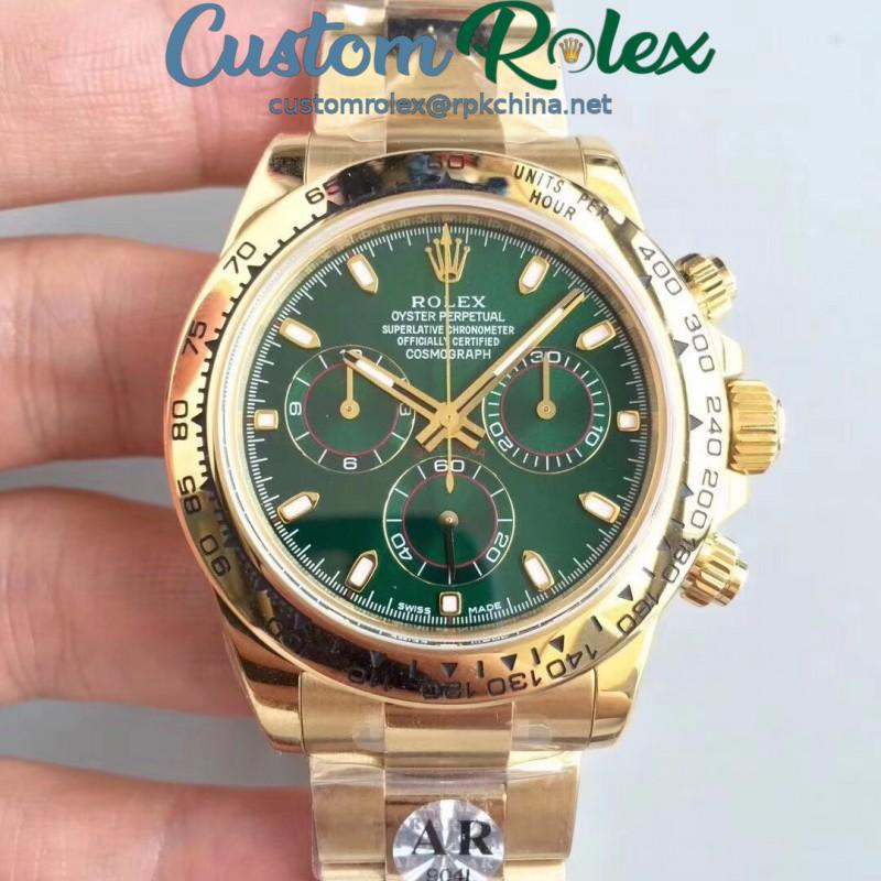 Replica Rolex Daytona Cosmograph 116508 AR Stainless Steel 904L With 18K Yellow Gold Wrapped Green Dial Swiss 4130 Run 6@SEC