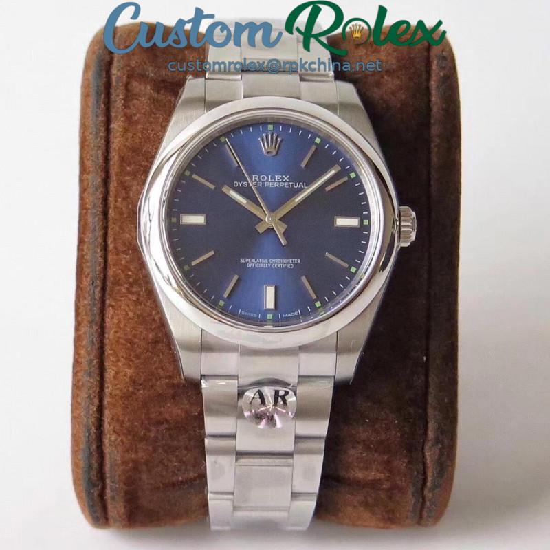 Replica Rolex Oyster Perpetual 39 114300 AR Stainless Steel 904L Blue Dial Swiss 3132