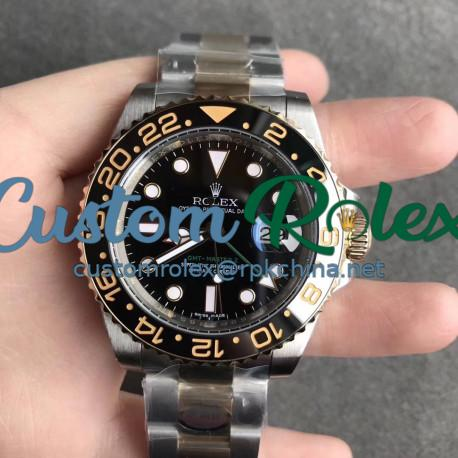 Replica Rolex GMT-Master II 116713LN N V9S 24K Yellow Gold Wrapped & 904L Stainless Steel Black Dial Swiss 3186