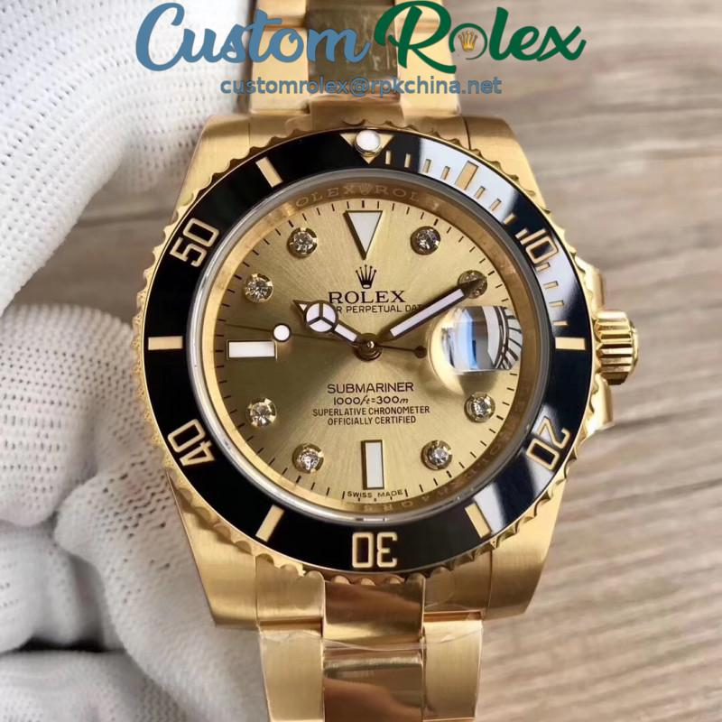 Replica Rolex Submariner Date 116618LN BP Yellow Gold Champagne Dial Swiss 2836-2