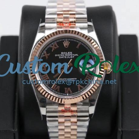 Replica Rolex Datejust 36MM 116231 GM Stainless Steel 904L & Rose Gold Black Dial Swiss 2824-2