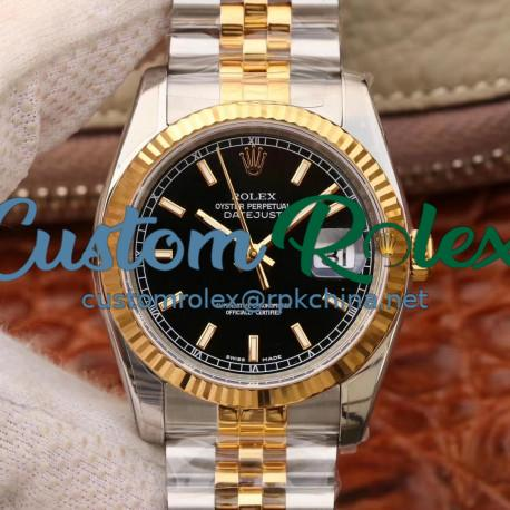 Replica Rolex Datejust 36MM 116233 AR V2 Stainless Steel & Yellow Gold Black Dial Swiss 3135