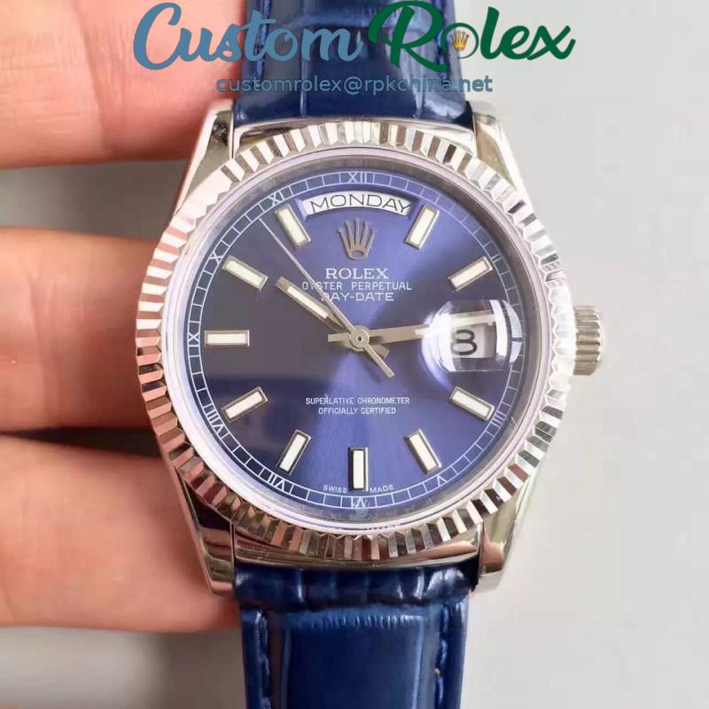 Replica Rolex Day-Date 118139 36MM V5 Stainless Steel Blue Dial Swiss 2836-2