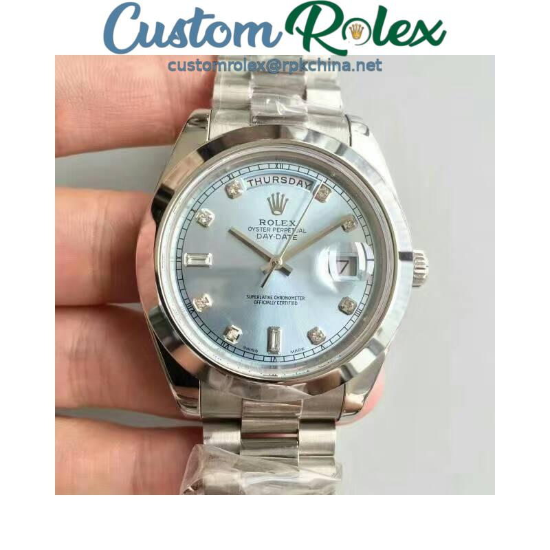 Replica Rolex Day-Date II 218206 41MM V6 Stainless Steel Blue Dial Swiss 2836-2