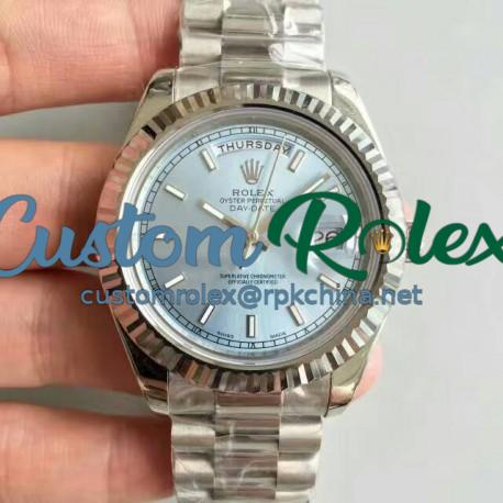 Replica Rolex Day-Date II 218239 41MM V6 Stainless Steel Blue Dial Swiss 2836-2