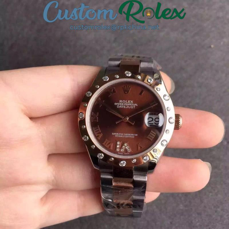 Replica Rolex Lady Datejust 31 178341 31MM V5 Stainless Steel & Rose Gold Chocolate Dial Swiss 2836-2