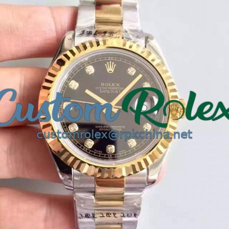 Replica Rolex Datejust 41 126333 41MM NF Stainless Steel & Yellow Gold Black & Diamonds Dial Swiss 2836-2
