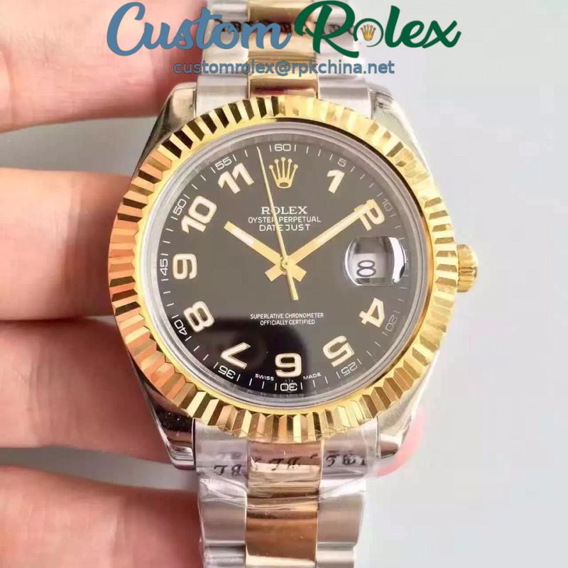 Replica Rolex Datejust 41 126333 41MM NF Stainless Steel & Yellow Gold Black & Arabic Dial Swiss 2836-2
