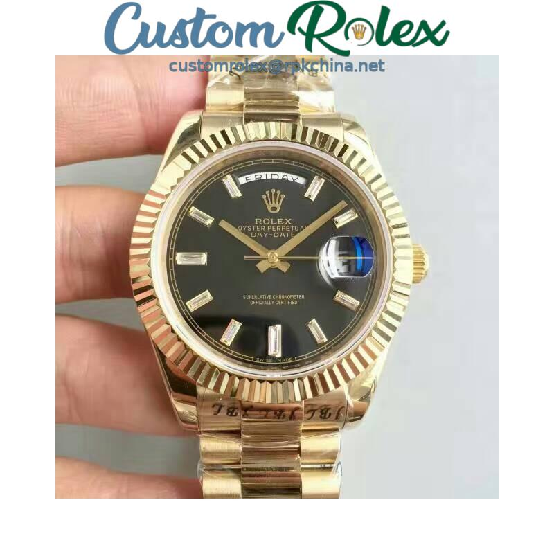 Replica Rolex Day-Date 40 228238 40MM KW Yellow Gold Black Dial Swiss 3255