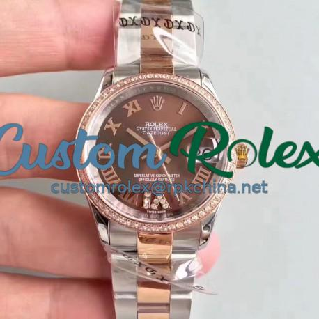 Replica Rolex Datejust 31 178341 31MM JF Stainless Steel & Rose Gold Chocolate Dial Swiss 2836-2